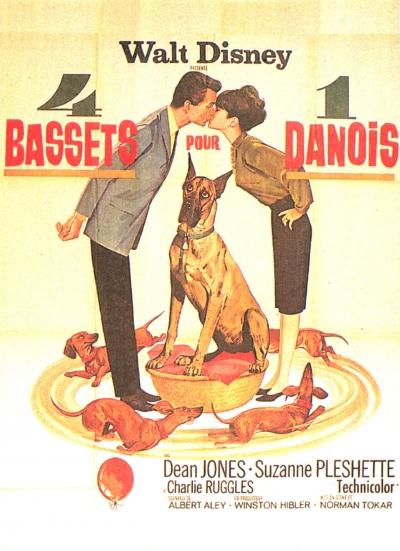 L'affiche de 4 bassets pour un danois